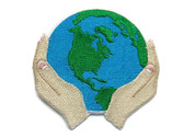 Blue Green Earth Held in Hands Ecology Embroidered Iron On Patch 2.75 Inches