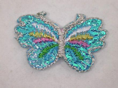 Aqua Blue Pastels Lustrous Butterfly Iron On Patch 1 In