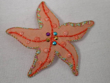 Orange Organza Starfish Applique Patch 2.75 Inches