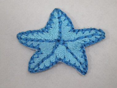 Blue Starfish Embroidered Iron On Applique Patch 1 In