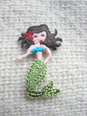 Mermaid Brunette Embroidered Iron On Patch 1.5 In