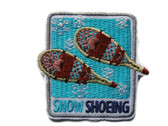 Snow Shoeing Aqua Embroidered Iron On Badge Patch Applique 2 Inches