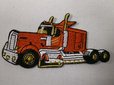 Big Orange Rig Truck Embroidered Iron On Patch
