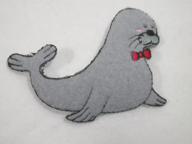 Polar Grey Seal Iron On Fleece Applique Patch Tie