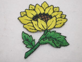 Sunflower w Leaves Embroidered Iron On Patch Applique