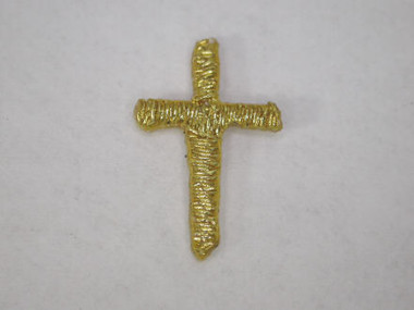 Cross Embroidered Gold Metallic Iron On Patch .5 Inch