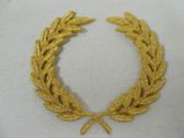 Gold Metallic Laurel Wreath Embroidered Iron On Patch