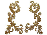 Pair Gold Metallic Floral Vine Costume Embroidered Iron On Patches 5 Inches