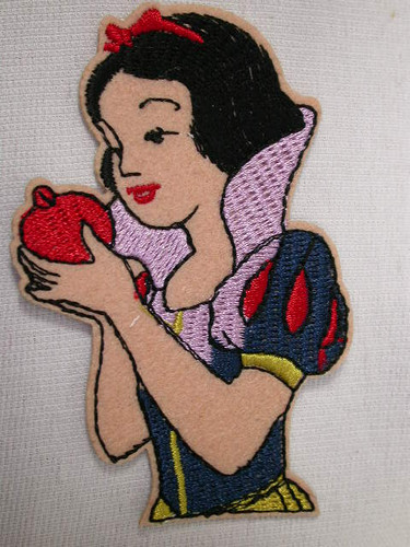 Cartoon Princess w Red Apple Embroidered Iron On Applique Patch