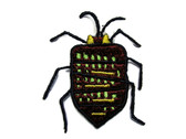 Brown Green Yellow Beetle Bug Embroidered Iron On Patch Applique 2 Inch
