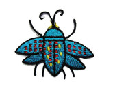 Blue Red Yellow Beetle Bug Embroidered Iron On Patch Applique 2 Inch