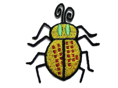 Yellow Green Red Beetle Bug Embroidered Iron On Patch Applique 2 Inch