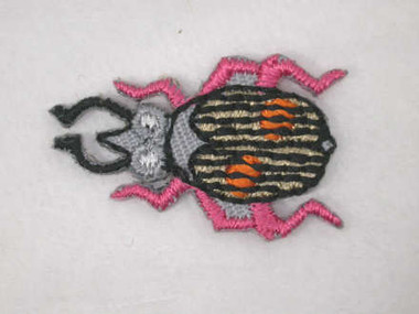 Grey Pink Beetle Embroidered Iron On Applique Patch