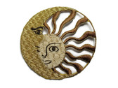 Gold Sun With Moon Embroidered Iron On Patch Applique 2.25 Inch