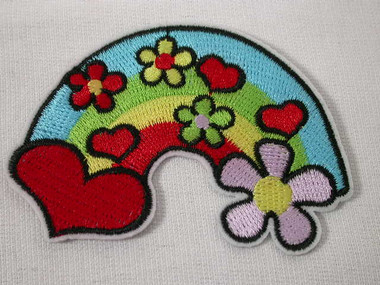 Peace Heart Rainbow Love Embroidered Iron On Patch Red
