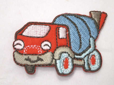 Cement Truck Orange Embroidered Iron On Patch Applique