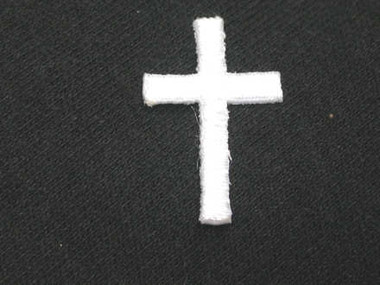 Christian Cross White Iron On Patch 1/2 Inch