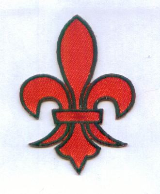 Fleur de Lis Red Black Embroidered Iron On Patch 3 In