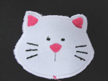 White Knit Kitty Cat Face Sew On Patch 3.75 Inch