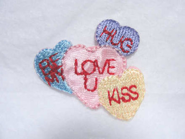 Valentine Candy Hearts w Saying Iron On Patch Applique