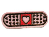 Pink Band Aid with Hearts Embroidered Iron On Patch 1.75 Inch