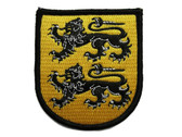 Two Lions Face Left Shield Crest Yellow Black Embroidered Iron On Heraldry Patch