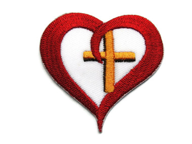 Christian Cross in Red Heart Embroidered Iron On Patch Applique 2.25 Inches