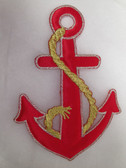 Red Satin Anchor Padded Iron On Patch 5 In