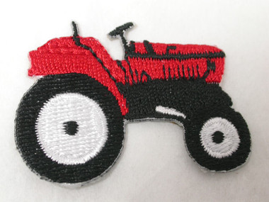 Bright Red Farm Tractor Iron On Patch Applique
