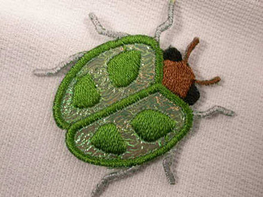 Green Beetle Embroidered Iron On Patch Applique