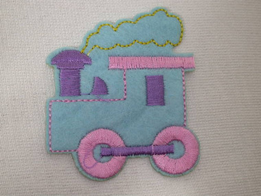 Blue Pink Lilac Baby Train Engine Embroidered Iron On Patch Applique