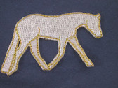 Horse Iron On Patch Silver Metallic 2.25 Right Facing B