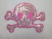 Sequinned Pink Skull Crossbones Iron On Patch