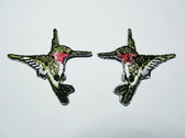 Pair 2 Right Left Small Pink Hummingbirds Embroidered Iron On Patches