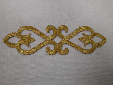 Gold Metallic Swirl Scroll Costume Iron On Embroidered Patch 4.88 Inch