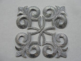 Silver Metallic Floral Scrollwork Crest Costume Iron On Patch Applique 3.5 Inches