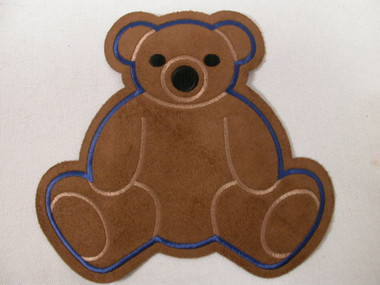 Brown Suede Teddy Bear  Iron On Applique Patch 6.5 Inch Infant Cosplay Suitable