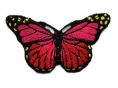Red Dark Pink Shades Butterfly Iron On Patch Applique 3 Inch