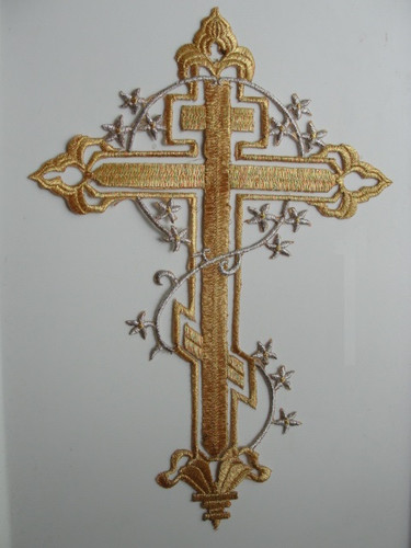 Christian Gold Metallic Cutwork Cross w Flowers Embroidered Iron On Patch 11.25 In
