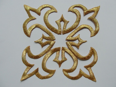 Gold Metallic Double Floral Square Scroll Crest Costume Iron On Patch Applique 5.63 Inch