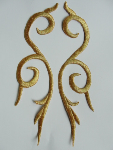 Pair Long Slender Gold Metallic Scrolls Costume Iron On Embroidered Patches 9.5 Inch