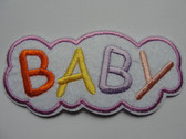Colorful Pastel BABY Legend on Fleece Cloud Iron On Patch Applique 3 Inches