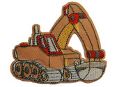 Excavator Child Embroidered Twill Iron On Patch Applique - Tan