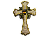 "2.5"" Christian Gold White Iridescent Budded Cross Iron On Patch"