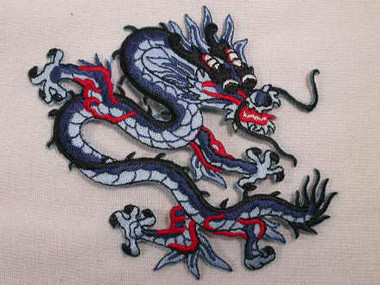 Blue Red Black Oriental Dragon Embroidered Applique Patch