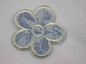 Blue White Lace Daisy Embroidered Iron On Patch