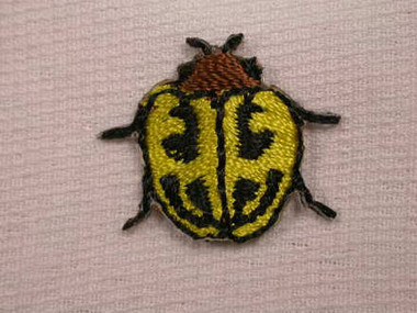 Yellow Beetle Embroidered Iron On Patch Applique Patch .75 In