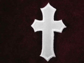 Christian Cross Embroidered Satin Iron On Patch 2.5 In