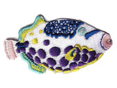 Tropical Reef Fish White Blue Aqua Pink Embroidered Iron On Patch 2.75 Inches