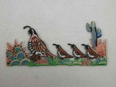 Quail Family of 4 w Cactus Embroidered Iron On Patch